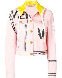 Versace Джинсовая Куртка С Капюшоном И Графическим Принтом - Розовый