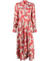 HUGO Bird-print Tie-neck Dress - Red
