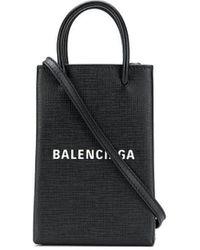 Balenciaga ショッピング フォン ホルダー - ブラック