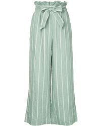 Suboo Striped Wide Leg Trousers - グリーン