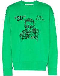 Off-White c/o Virgil Abloh T-shirt a maniche lunghe Public Television - Verde