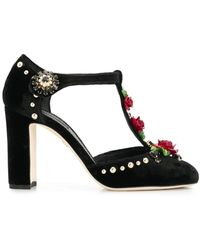 Dolce & Gabbana Embroidered T-straps Pumps - Black