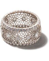 Buccellati 18kt White Gold Diamond Band Ring - Metallic