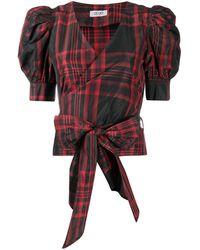 Liu Jo Check Print Wrap Top - Red