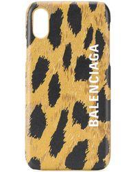 Balenciaga Cash Leopard-print Iphone Xs Case - Brown