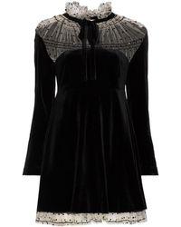 Masterpeace Ruffle Neck Tie Lace Dress - Black