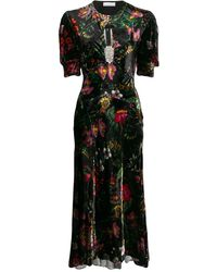 Paco Rabanne Printed Velvet Midi Dress W/crystals - Black