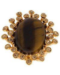 Oscar de la Renta Tiger Eye Stone Ring - Brown