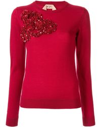 N°21 Sequinned ruffle sweater - Rosso