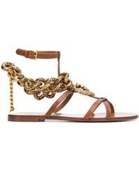Dolce & Gabbana Devotion チェーン サンダル - ブラウン