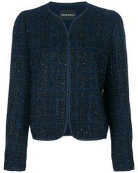 Emporio Armani - Checked Collarless Jacket - Lyst
