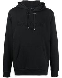 Balmain Худи С Вышитым Логотипом - Черный