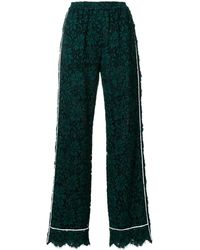 Dolce & Gabbana High Waist Lace Pants With Contrast Piped Trim - Green