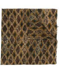 Uma Wang Geometric-print Frayed Scarf - Brown