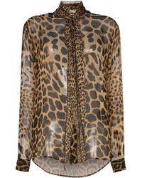Saint Laurent - Tie-neck Leopard-print Blouse - Lyst