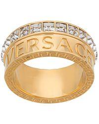 Versace Anillo con logo con cristales - Metálico