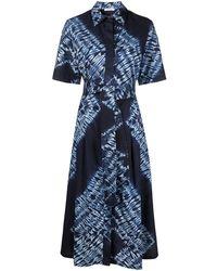 P.A.R.O.S.H. Платье-рубашка С Принтом Тай-дай - Синий
