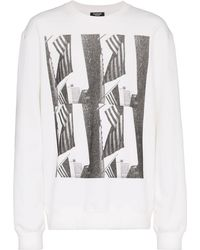 CALVIN KLEIN 205W39NYC Andy Warhol Flag Print Long Sleeved Top - White