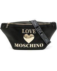 Love Moschino Logo Plaque Belt Bag - Black