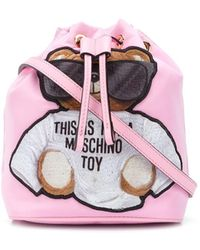 Moschino Teddy Bear Bucket Bag - ピンク