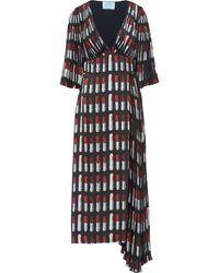 Prada - Kleid mit Lippenstift-Print - Lyst