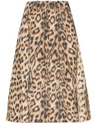 Victoria Beckham Leopard Print High-waist Skirt - Brown