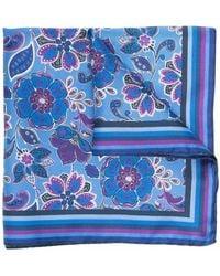 Kiton フローラル ポケットチーフ - ブルー