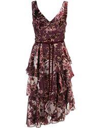 Marchesa notte Платье Асимметричного Кроя С Цветочным Принтом - Пурпурный