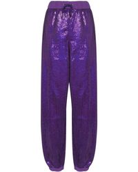 Ashish Sequin-embellished Track Trousers - Purple