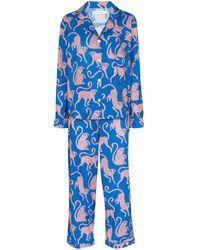 Desmond & Dempsey Ensemble chemise-pantalon de pyjama Chango - Bleu