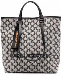 Karl Lagerfeld Monogram-print Tote Bag - Black