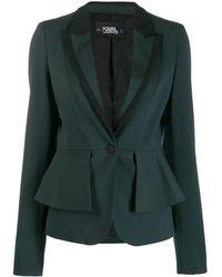 Karl Lagerfeld Layered Peplum Blazer - Green