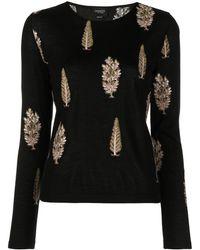 Giambattista Valli Trees-embroidered Sweater - Black