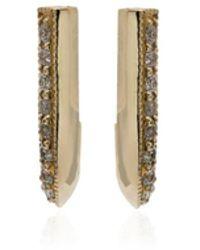 Lizzie Mandler Pave Diamonds Knife Edge Earrings - Metallic