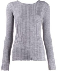 Courreges Ribbed Sweater - Gray