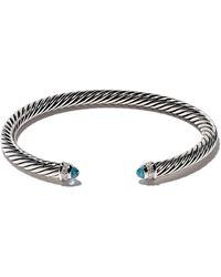 David Yurman Sterling Silver Cable Classic Blue Topaz And Diamond Cuff Bracelet - Multicolour