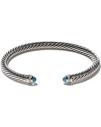 David Yurman Cable Classic Blue Topaz And Diamond Cuff Bracelet - Multicolour
