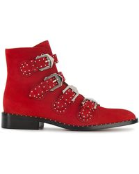 Givenchy - Red Suede Studded Chelsea Boots - Lyst