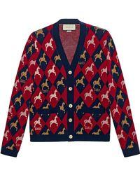 Gucci - Cardigan en jacquard de laine à motif équestre - Lyst