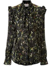 Preen By Thornton Bregazzi Tie Neck Ruffled Trim Floral Blouse - Black