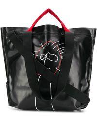 Plan C Printed Shopper Tote - Black