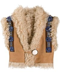 Miu Miu Shearling Cropped Jacket - Multicolour