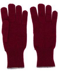 Brunello Cucinelli Перчатки С Контрастной Отделкой - Красный