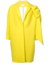 Delpozo Bow-embellished Cocoon Coat - イエロー