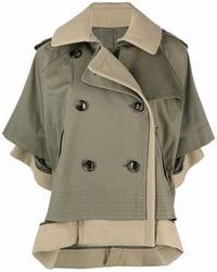 Sacai Layered Short-sleeved Trench Coat - Green