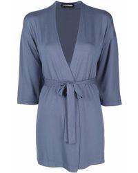 Styland Tie-fastening Short-sleeved Cardigan - Blue