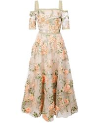Marchesa notte - Floral-embroidered Off-the-shoulder Dress - Lyst