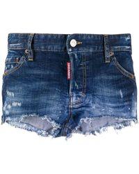 DSquared² Short en jean à effet usé - Bleu