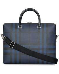 Burberry Maletín con London Check - Azul