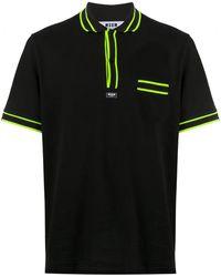 MSGM Poloshirt Met Neon Afwerking - Zwart